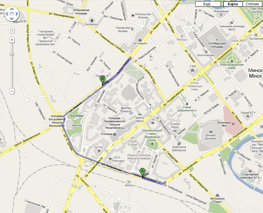 Карта (точка А - жд вокзал,